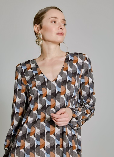 People By Fabrika Geometrik Desenli Elbise Mavi